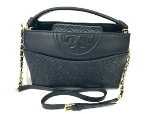 New Tory Burch  Black leather mini satchel crossbody/Shoulder bag