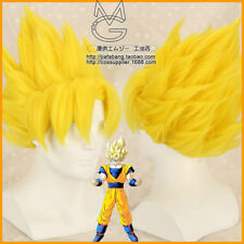 Dragon Ball Z GOKU Golden Blonde Anime Cosplay Costume Wig Hair + Free CAP