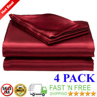 Satin Sheets Soft Silk Feel Bedding 4pc Set Luxury Bed Linen Burgundy Queen Size