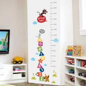 Numbers & Animal Height Measure Wall Stickers Bedroom Mural Growth Chart Decals