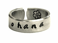 Ohana Aluminum Ring Hibiscus Hand Stamped Personalized Aluminum Spiral Ring