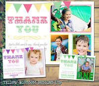 10 Personalised Kid Childrens Thank You Cards Birthday Christening Photo Bunting