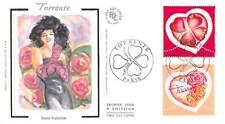 FDC soie - Timbres coeurs, Torrente - 11/1/2003 Paris