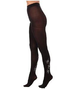 HUE Tights Sz S / M Black Bejeweled Non-Control Top Fashion Tight U16195