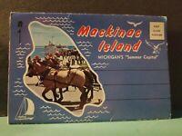 Vintage FoldOut Mackinac Island Michigan Postcard View Book SOUVENIR 1960s #143