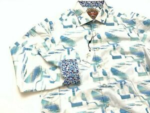 Robert Graham Men's Embroidered White Teal Color Long Sleeve Shirt XL NWT