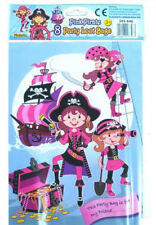 8 Pink Pirate Empty Party Bags - Toy Loot Gift Wedding/Kids Plastic