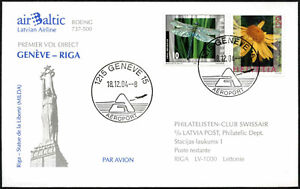 Switzerland 2004 Geneve - Riga Latvia Flight Cover #C43505