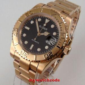 40mm bliger black dial rose golden ceramic bezel NH35 Automatic mens Watch date