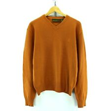 Timberland V Neck Jumper in Orange Size M LongSleeve Wool Cotton Sweater EF3593