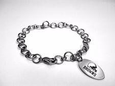 NFL Seattle Cleveland Browns  Stainless Steel Logo Dangle Charm Bracelet