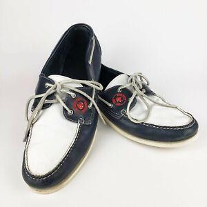 ALLEN EDMONDS Red Sox Baseball Stitch Boat Shoe 12 D Loafers Blue/White Red Logo