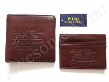 New Ralph Lauren Polo Brown Leather Logo 2 Piece Bifold Wallet & Card Case