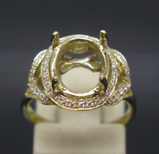 Solid 14k Yellow Gold 8x10mm Oval Diamond Engagement Semi Mount Natural Ring