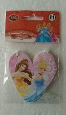 Pack 10 x Disney Princess Pink Heart Shaped Gift Tags, Girls Birthday Christmas