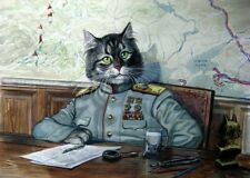 CAT WWII General Strategist USSR Fantasy ART Modern Postcard