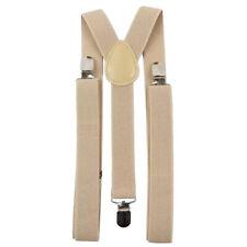 New Adult Men's Beige Cream Braces Adjustable Heavy Duty Clasps.