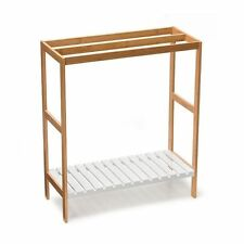3 x Rail Bamboo Wood Towel Rack & White Wooden Shelf Free Standing Storage Stand