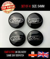 SET of 4 Ford BLACK 54mm Alloy Wheel Centre Caps Focus Mondeo Fiesta Galaxy