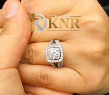 14K WHITE GOLD ROUND FOREVER ONE MOISSANITE AND DIAMOND ENGAGEMENT RING 1.65CTW