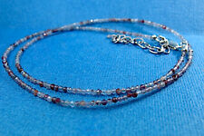 Sparkling Faceted Lepidicrosite Quartz Necklace W/ Sterling Silver Clasp + Chain