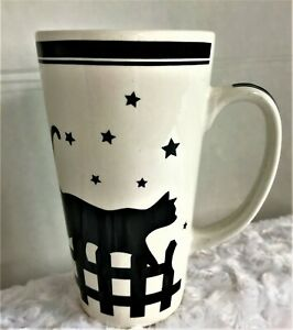 Tall Coffee Mug with Black Cats, Stars, Moon and Fence In Great Condition