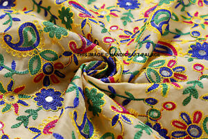 By Yard Indian Embroidered Silk Fabric Upholstery Sewing Apparel Silk Fabric