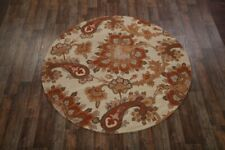 Traditional Floral Paisley Ivory Oushak Hand-Tufted Oriental 8' Round Wool Rug