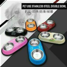 Dog Feeder Stainless Steel Double Bowls Non-slip Bottom Dog Bowls Cat Food Bowls
