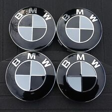 BMW (SET OF 4) 68mm BLACK WHITE LOGO WHEEL CENTER CAPS 1-6 WC4PC545