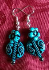 Acrylic ethnic, tribal turquoise bead, flower bead silver plated, hook 296