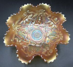 """CARNIVAL LOVELY NORTHWOOD MARIGOLD WISHBONE FOOTED BOWL """"NICE COLOR"""""""