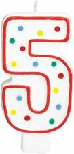 5th Birthday Candle Cake Topper Number 5 Party Age Decor Bday Decoration Candles