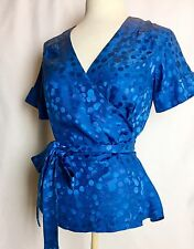 MARC Marc Jacobs 100% SILK Teal Blue Cherry Print Wrap Blouse Top Shirt XS