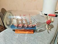 Vintage Sailing Ship in a Bottle Three Masted Schooner Nautical Wooden Stand