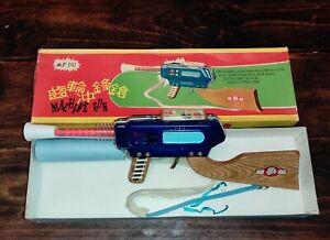 MF 947 VINTAGE CHINA MACHINE GUN TIN WOOD PLASTIC TOY FRICTION SOUND SPARKS NIB