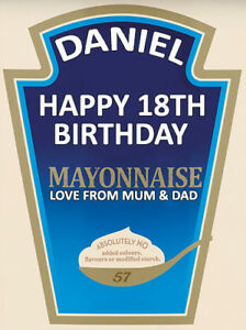 PERSONALISED HEINZ MAYONNAISE LABEL - PARTY / BIRTHDAY / WEDDING OCCASION