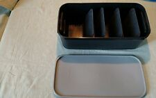 VTG TUPPERWARE Modular Mates photo with insert.  Black box #1718 gray lid #1719