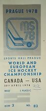 TICKET Eishockey WM 30.4.1978 Canada - USA in Prag