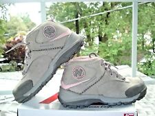 NEW BALANCE KIDS Girls Gray Pink LEATHER SUEDE Lace-Up Bootie BOOTS Shoes 2.5