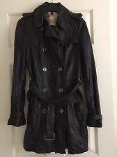 Burberry Brit Leather Trench Coat Jacket Black Sizes 4 New