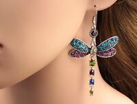 Gorgeous Colors Dragonfly Crystal Rhinestone Silver Plated Hook Earrings