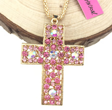 Hot Betsey Johnson Europe and America Enamel Pendant Cross Rhinestone Necklace