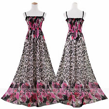 Leopard Plus Size Women Extra Long Maxi Chiffon Dress Size 20 22 24 26 28 30 32