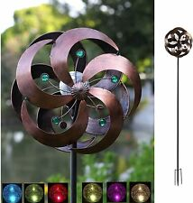 Solar Wind Spinner Kinetic Outdoor Lawn Garden Decor Patio Stake Yard Art Mill