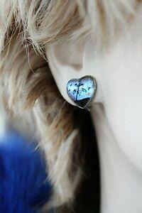 """OXIDIZED 925 BUTTERFLY WING HEART SCREW BACK EARRINGS 9/16"""" 3.3 GRAMS"""