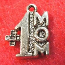 "10Pcs. Tibetan Silver "" #1 Mom"" Charms Pendants Earring Drops Findings Pr284"