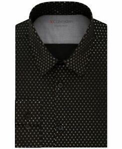 Calvin Klein Men's Dress Shirt Black Size Medium M Extreme Slim-Fit $79 074