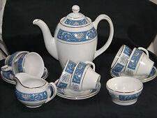 RARE VINTAGE WOOD & SONS BURSLEM ALPINE WHITE 1940s COFFEE SET 15 PIECE. VGC