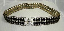 Unsigned D&E JULIANA 1960's Black, White & Clear Glass Rhinestone Metal Belt